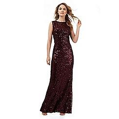 No. 1 Jenny Packham - Dark red sequin glitter maxi dress
