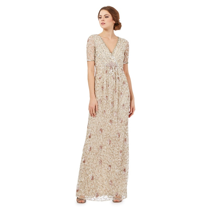No. 1 Jenny Packham Gold Sequin Embellished Maxi Dress,