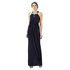No. 1 Jenny Packham - Navy embellished gathered maxi dress