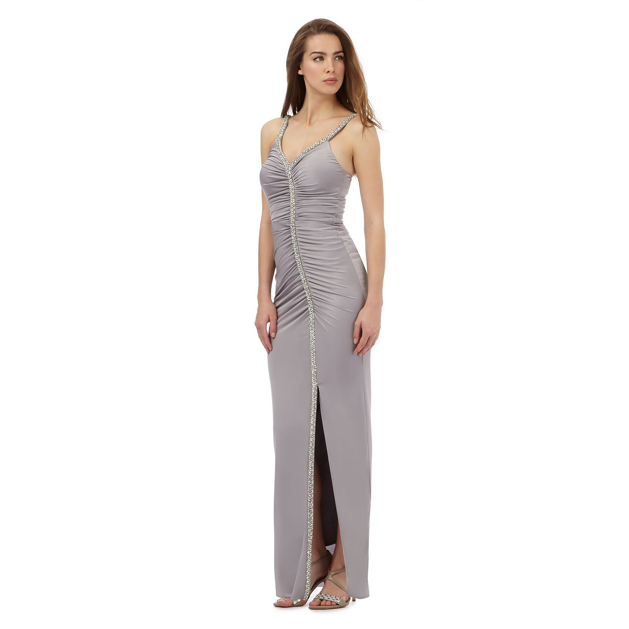 No. 1 Jenny Packham Womens Grey Diamante Trim Maxi Dress ...
