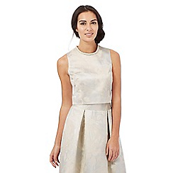 No. 1 Jenny Packham - Ivory leaf textured pleated top