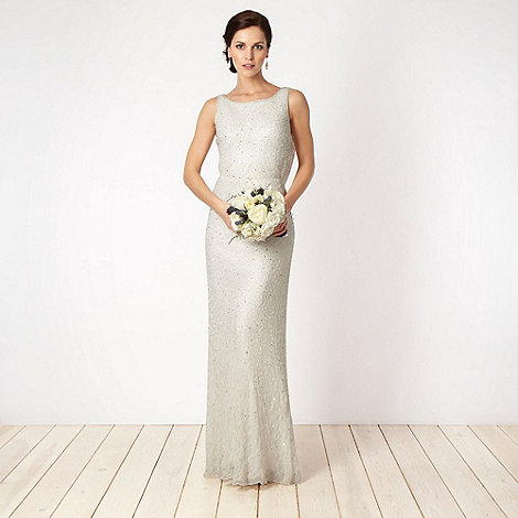 Debut - Ivory beaded cowl back maxi dress
