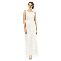 Debut - Ivory embellished cowl neck maxi dress