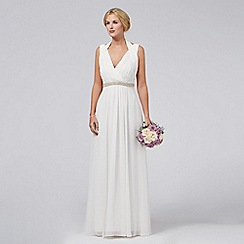 Debut - Ivory embellished Grecian maxi dress