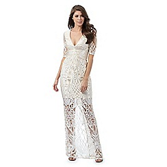Debut - Ivory lace embroidered maxi dress