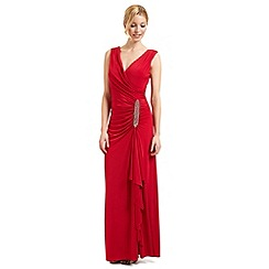Ariella London - Red 'Celina' waterfall evening dress
