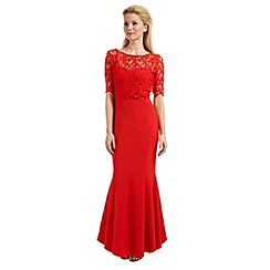 Ariella London - Red 'Seren' lace overlay evening dress