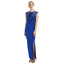 Ariella London - Blue 'Mabel' lace wrap evening dress