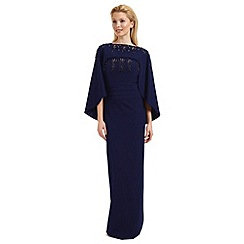 Ariella London - Blue 'Olympia' beaded evening dress with cape