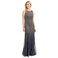 Ariella London - Blue 'Winnie' lace and beaded evening dress