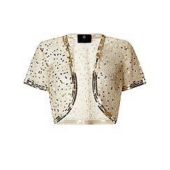 Ariella London - Ivory and gold 'Vera' sequinned bolero