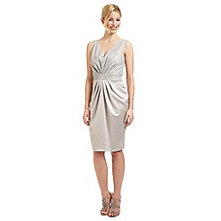 Ariella London - Silver 'Carina' satin and lace dress