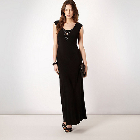 Principles by Ben de Lisi - Black beaded cut out neck jersey maxi dress