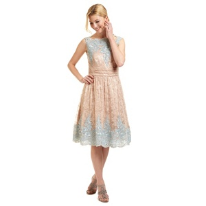Ariella London Nude and blue 'Riley' scalloped lace dress