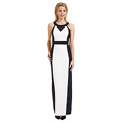 Ariella London - White and navy 'Kendall' fringe trim evening dress