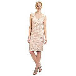 Ariella London - Pale peach 'Dara' jacquard dress