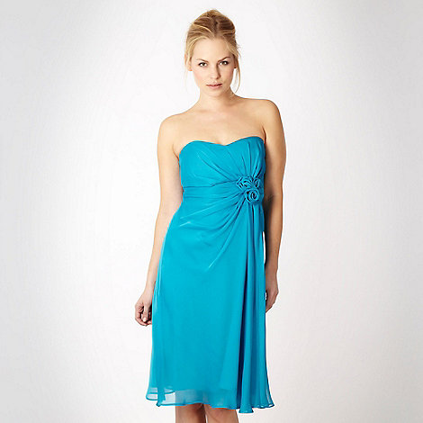 Debut - Turquoise four-rose corsage bandeau cocktail dress