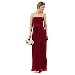 Debut - Dark red ruched maxi dress