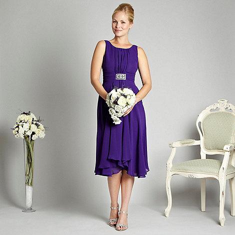 Debut - Purple pleat front embellished cocktail dress