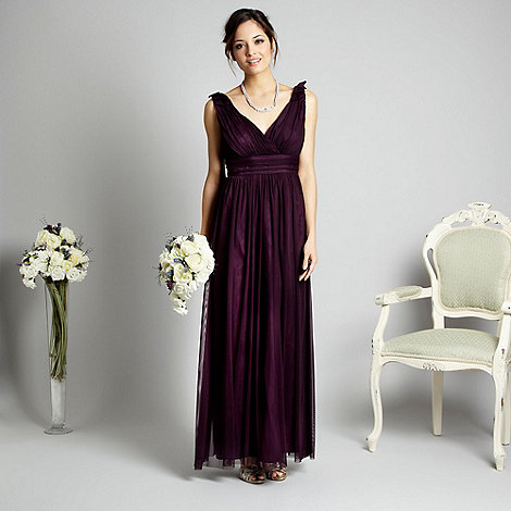 Debut - Plum tiered bow strap maxi dress