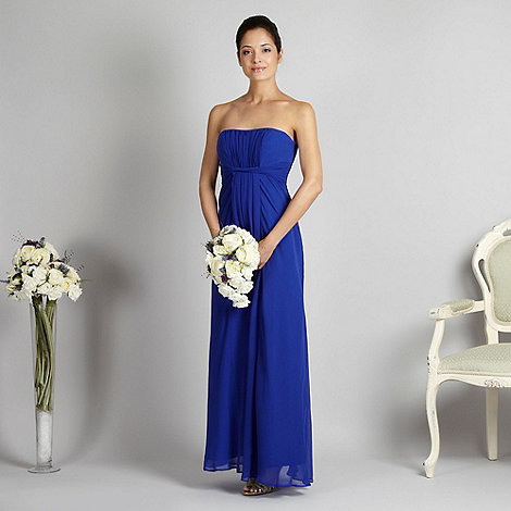 Debut - Bright blue twist bandeau maxi prom dress