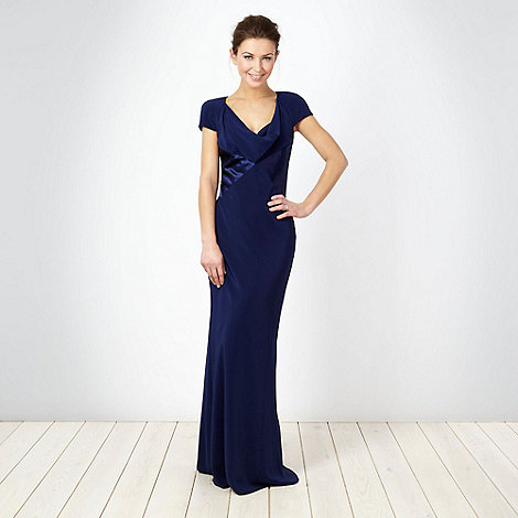 Debut - Dark blue cowl neck maxi dress