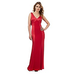 Debut - Red floral lace trim maxi dress