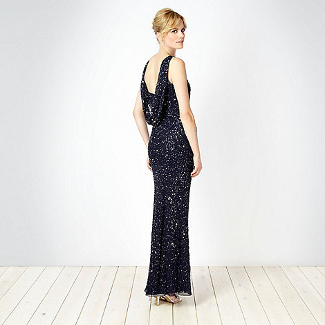 Debut - Dark blue seed beaded cowl neck maxi dress