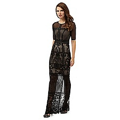 Debut - Black cut-out mesh maxi dress