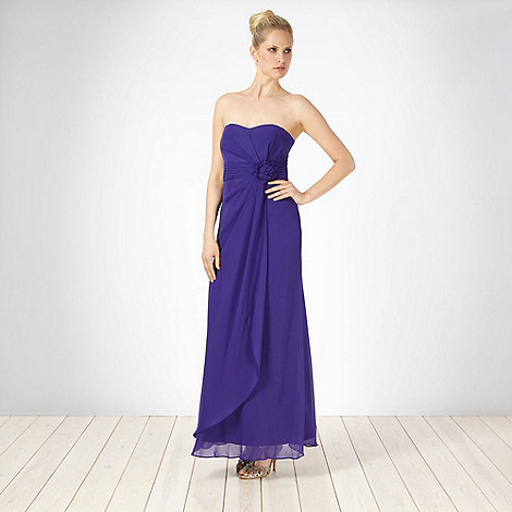 Debut - Purple corsage bandeau maxi dress