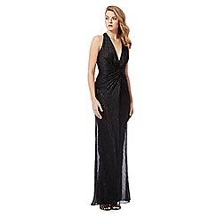 Debut - Black shimmer halter neck maxi dress