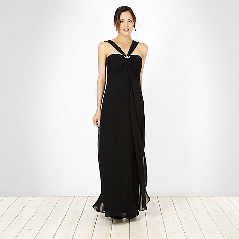 Debut - Black pleated bust halter neck evening maxi dress