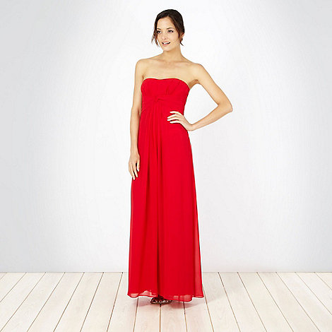 Debut - Red twist front bandeau maxi dress