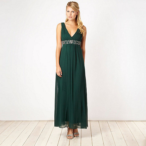 Debut - Dark green floral jewel embellished maxi dress
