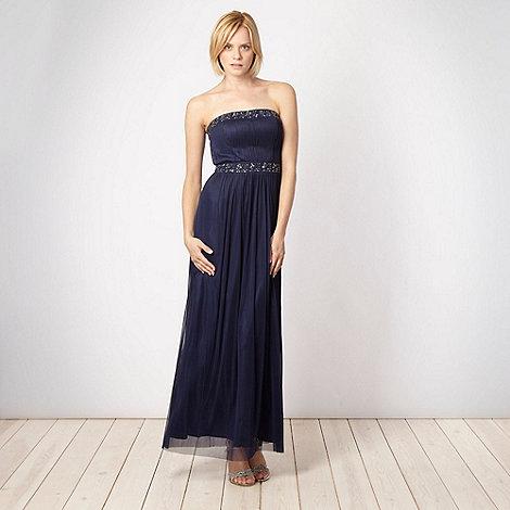 Debut - Dark blue embellished mesh bandeau dress