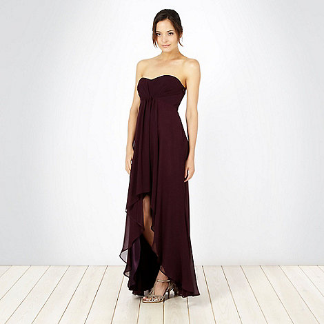 Debut - Plum curved hem bandeau maxi dress