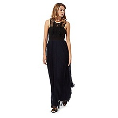 Debut - Navy and black crochet pleated maxi dress