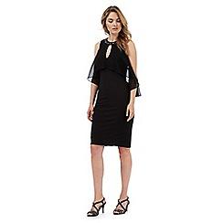 Debut - Black embellished neck cold shoulder dress