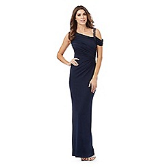 Debut - Navy beaded one shoulder maxi dress