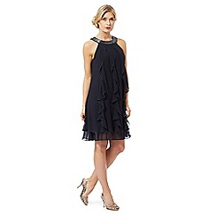 Debut - Navy bead embellished ruffle dress