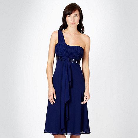 Debut - Dark blue one shoulder sequin dress