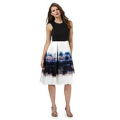 Debut - Black and white storm cloud print scuba dress