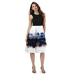 Debut - Black and white storm cloud print scuba dress