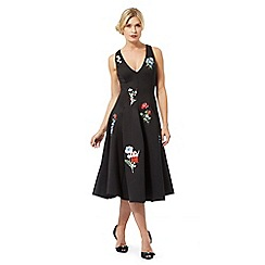 Debut - Black floral embroidered midi dress