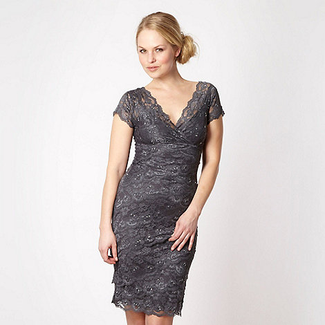 Debut - Dark grey lace sequin shift dress
