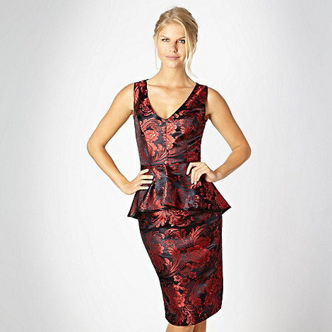 Debut - Red jacquard peplum shift cocktail dress