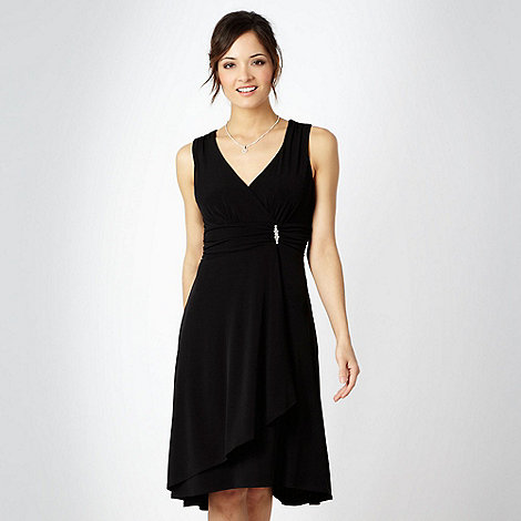 Debut - Black diamante brooch jersey cocktail dress