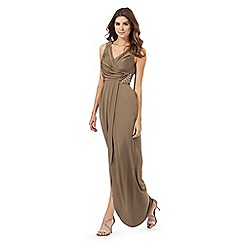 No. 1 Jenny Packham - Khaki draped maxi dress