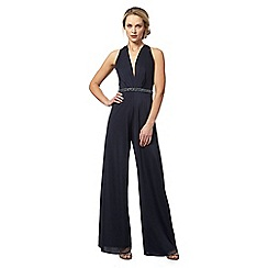 No. 1 Jenny Packham - Navy embellished waist jumpsuit