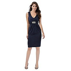 No. 1 Jenny Packham - Navy embellished knee length dress